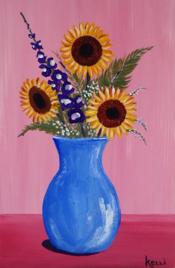 """Vase of Sunflowers"" original painting"