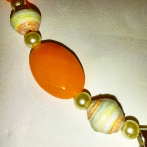 Orange and Green Flower Paper Bead Necklace