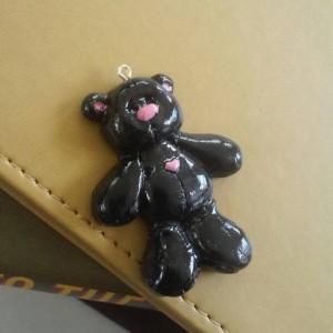 Teddy Bear Polymer Clay Necklace Charm, Zipper Pull, Polar Bear Zipper Pull, Teddy Bear Zipper Charm, Black Bear Zipper Pull