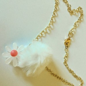 White Transparent Acrylic Daisy and Fur Pom Pom Gold Chain Choker