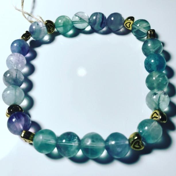 Exquisite, Gorgeous Fluorite/Heart Accents Bracelet