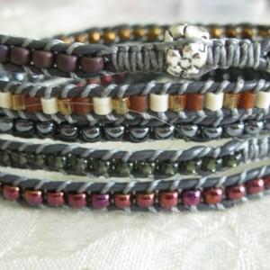 Leather wrapped bracelet Designer look w/o designer price tag 5-6x wrap LW40