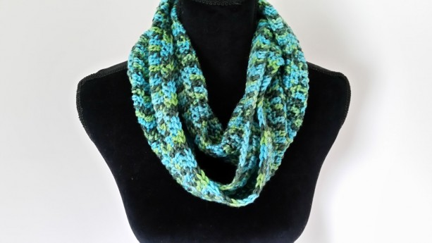 Cowl Infinity Scarf - Turquoise Unisex Scarf, Crocheted Neckarmer Scarf