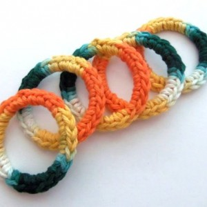 Cat Ferret Recycled Rings Toy Toys Green Orange Yellow Handmade Michigan Sunflower Colors