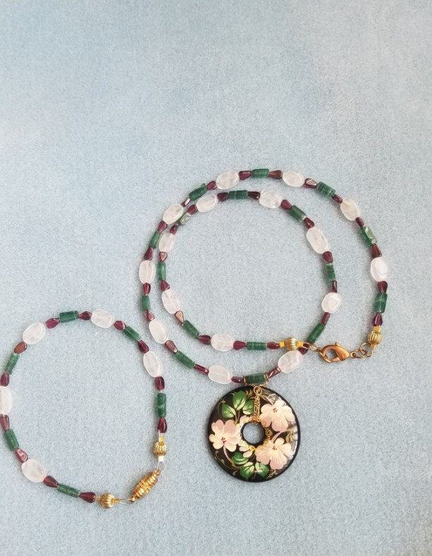 hand painted focal necklace