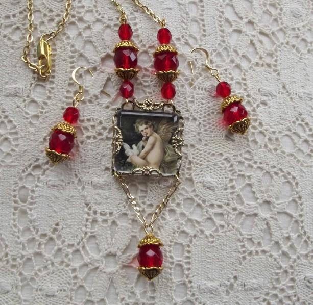 Victorian Valentine Cupid Necklace Set