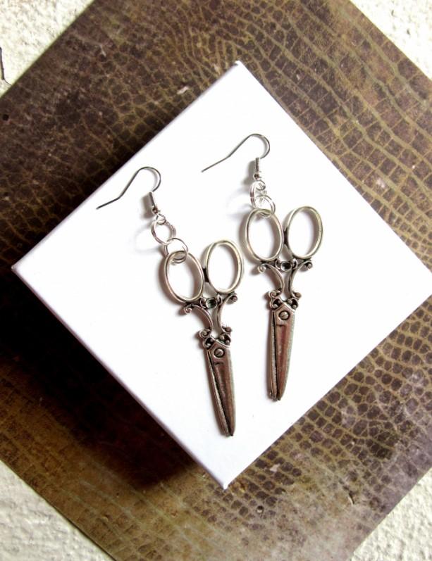Silver Scissors Earrings, Silver Earrings, Dangly Earrings, Strange Earrings, Teacher Earrings, Gifts for Teacher, Artist Earrings Scissors