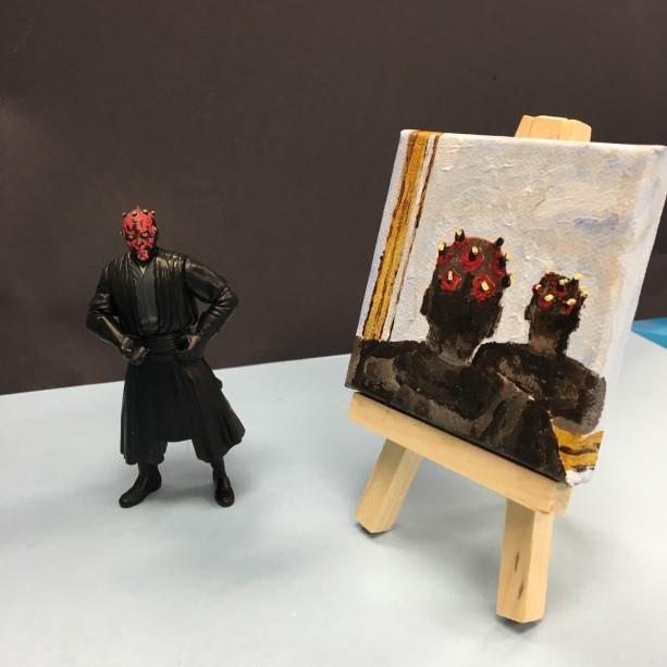 Star Wars Darth Maul Original Acrylic Portrait on Canvas