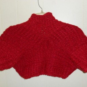 """A Very Soft Crocheted Red Shrug, """"Little Lady in Red"""" shrug, A Bright Red crocheted Shrug with a lot of texture, """"Little Lady in Red"""" shrug"""