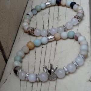 Natural Amazonite & Clear Quartz Gemstone Bracelet Set |Ladies Gift Set | Healing Stones For Love and Happiness | Queen Crown Bracelet Set