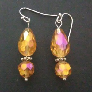Amber Faceted Teardrop Earrings