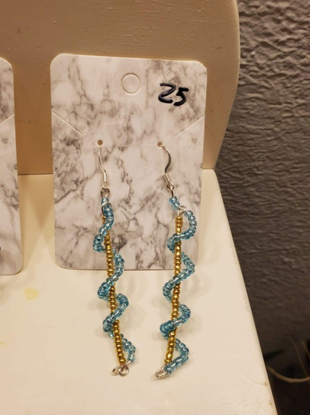 Blue and yellow spiral bead earrings