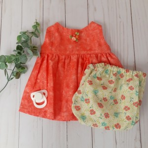 Infant Dress Orange Sleeveless Dress with Diaper Cover Headband (0-3 Months)