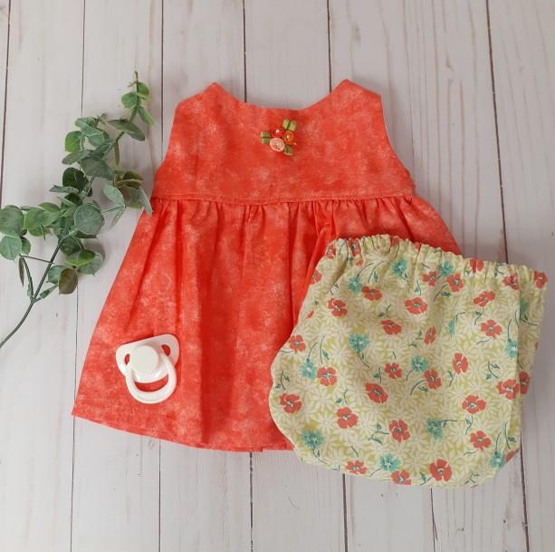 Infant Dress Orange Sleeveless Dress with Diaper Cover Headband (0-3 Months)