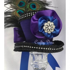 Butterfly Peacock Feathered Mini Top Hat Fascinator Handmade Headband