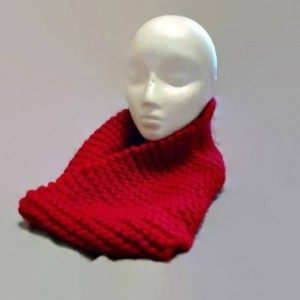 Chunky Red Cowl Scarf