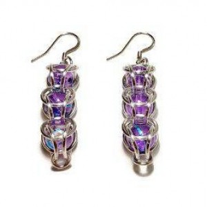 Purple dangle earrings chainmaille captured bead