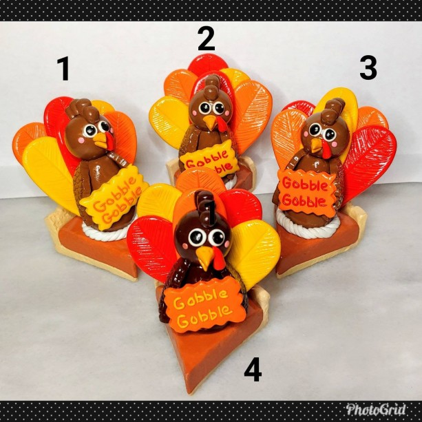 Polymer Clay Thanksgiving Home Decor Turkey Pumpkin Pie Gobble Gobble
