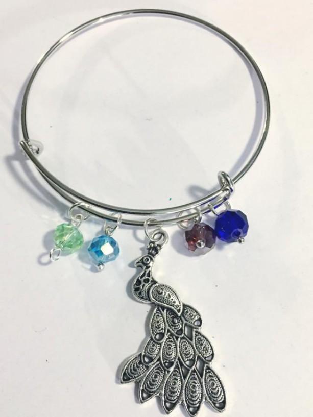 Peacock Charm Bangle Bracelet