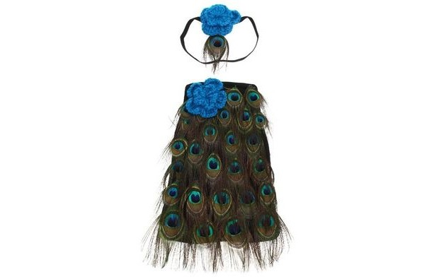 peacock infant photo prop with headband
