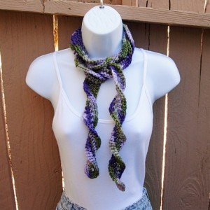 Lilac, Purple and Green Skinny SUMMER SCARF Women's Small Soft Spiral Knit Narrow Lightweight Twisted Long Neck Tie, Ready to Ship in 2 Days