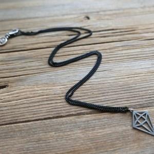 Men's Necklace - Men's Black Necklace - Men's Vegan Necklace - Men's Jewelry - Men's Gift - Boyfriend Gift - Husband Gift - Guys Necklace