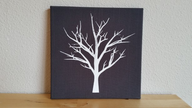 Screenprinted white tree on grey textured fabric canvas wall art - authentic handmade