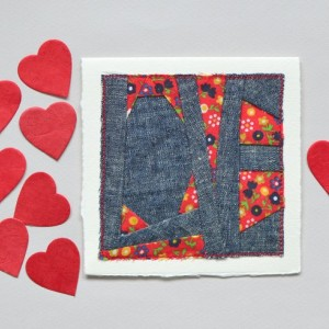 LOVE card -- chambray & vintage calico fabric card