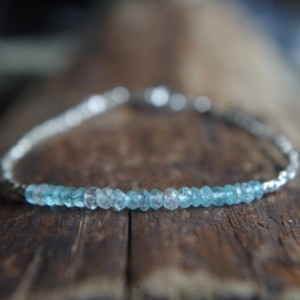 Hill Tribe Silver and Aquamarine bracelet - Tiny bracelet - Delicate bracelet - Minimalist bracelet - Ready to ship - 7 inches