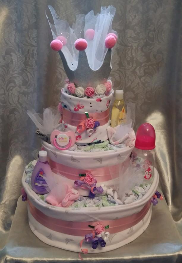 Perfect Pretty Princess diaper cake