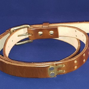 "Medium Adjustable Leather Belt, 35"" to 43"" Waist Size, 1-1/4"" Wide"
