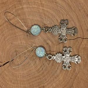 Ornate cross dangle earrings