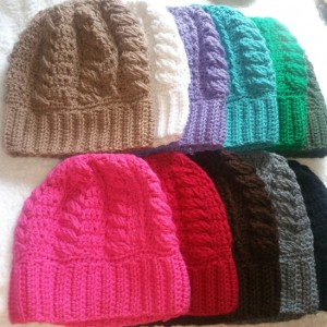 Stylish, Beautiful, Handmade Acrylic Crochet Cable Beanie Hats for Men, Women- 12 Colors - Red, Black, Grey, Pink, Blue, Green, Brown & More