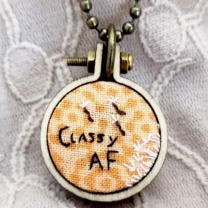 """""""Classy AF"""" Embroidered Hoop Necklace"""