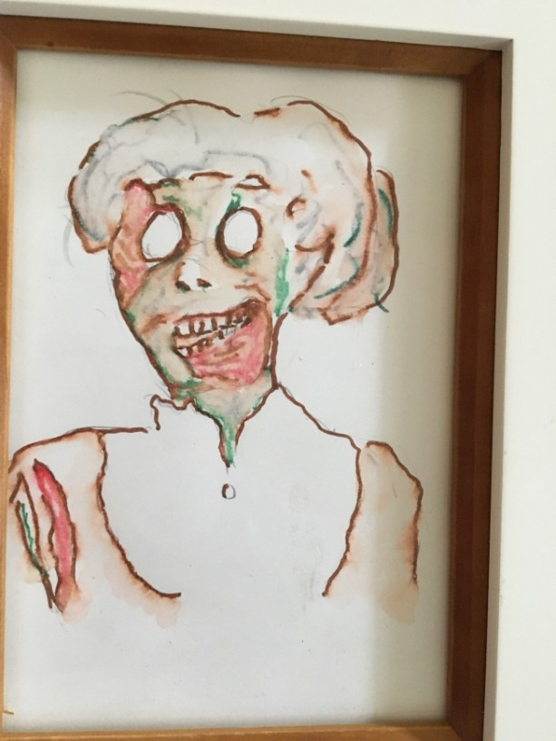 Framed original Zombie Betty Portrait in watercolor and Marker
