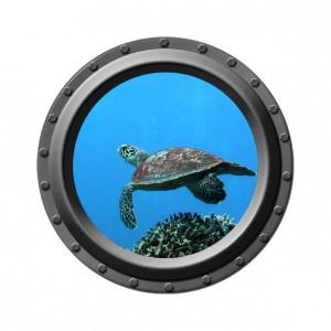 "Turtle Dancer Porthole Wall Decal - 13.75"" wide"
