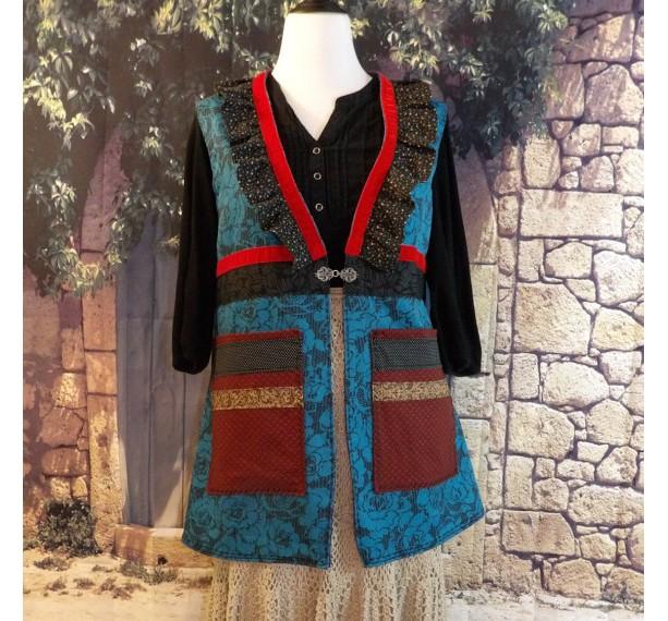 Line Vest with Velvet Trim and Large Patched Pockets Ruffled Neckline