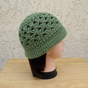 Solid Olive Green Summer Beach Sun Hat with Brim, 100% Cotton Lacy Cloche, Women's Crochet Knit Beanie, Lightweight Warm Weather Chemo Cap, Ready to Ship in 3 Days