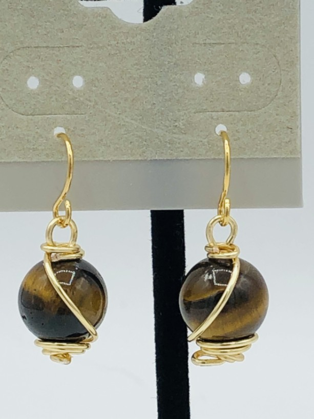 Tiger Eye and Gold Wrapped Earrings
