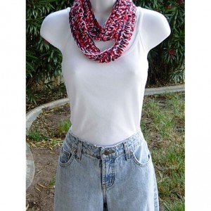 Red White and Blue 4th of July SUMMER SCARF Small Infinity Loop Soft Lightweight Crochet Necklace, Skinny Knit Cowl..Ready to Ship in 3 Days