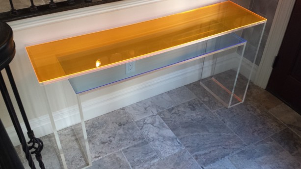 Console Table, Double Layer, Lucite/Acrylic   Stunning Decorative Piece:  Handcrafted Made