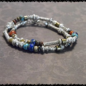 Silver and Czech Glass Seed Bead Bracelet