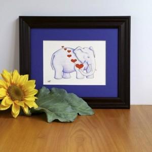 Dreaming Elephant, Fine Art Print, Elephant with Hearts, Nursery Decor, Jungle Art, Jungle Animal, African Elephant, Sleeping Elephant