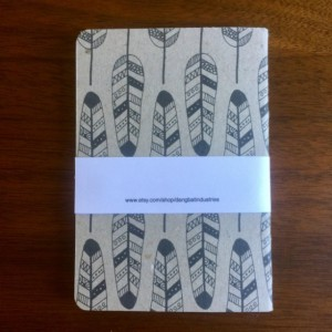 Tribal Feather Notebooks 2 pack 3.5in x 5in Pocket Notebook handcrafted journal diary sketchbook gift set handmade kraft Premium logo free