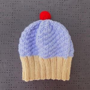 Toddler Knit Cupcake Hat - Lilac