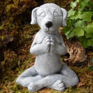 Meditating Dog Statue,Yoga Dog Statue,Dog Buddha Statue,Zen Statue,Outdoor Zen Garden Decor,Cement
