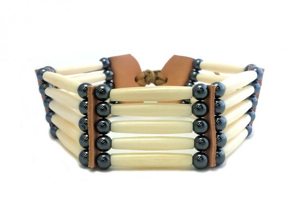 Handmade Traditional 5 Row White Buffalo Bone Hairpipe Tribal Choker Necklace