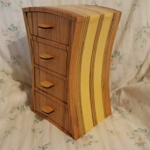 Bandsaw box made from red oak , pine ,plywood, and ebony
