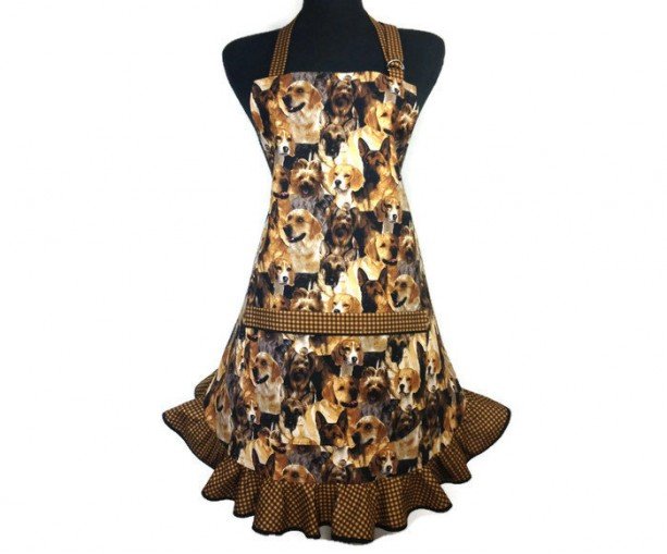 Dog Apron for Women , Retro Kitchen Decor with brown check ruffle , Adjustable with pocket