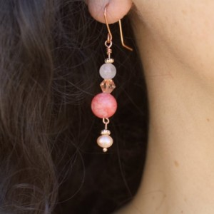 Gemstone Earrings, Rose quartz, Frosted Coral, Vintage Peach Crystal bicone, Freshwater Pearls